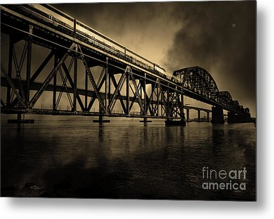 Amtrak Midnight Express 5d18829 Sepia Metal Print by Wingsdomain Art and Photography