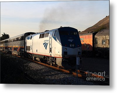 Amtrak Trains At The Niles Canyon Railway In Historic Niles District California . 7d10856 Metal Print by Wingsdomain Art and Photography