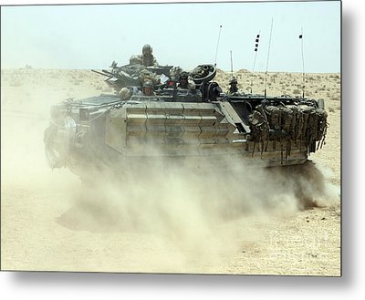 An Amphibious Assault Vehicle Kicks Metal Print by Stocktrek Images
