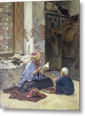 An Arab Schoolmaster Metal Print by Ludwig Deutsch