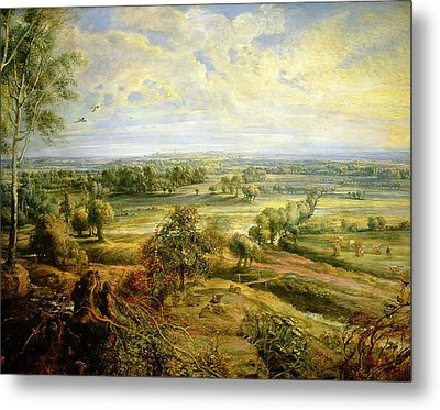 An Autumn Landscape With A View Of Het Steen In The Early Morning Metal Print by Rubens