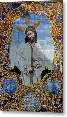 An Azulejo Ceramic Tilework Depicting Jesus Christ Metal Print by Sami Sarkis