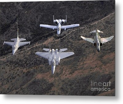 An F-16 Fighting Falcon, F-15 Eagle Metal Print by Stocktrek Images