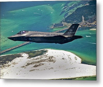 An F-35 Lightning II Flies Over Destin Metal Print by Stocktrek Images