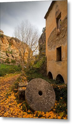 An Old Mill Wheel Outside An Old Flour Metal Print by Panoramic Images