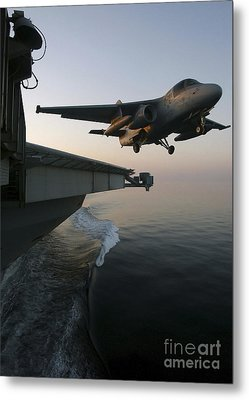 An S-3b Viking Clears The Flight Deck Metal Print by Stocktrek Images