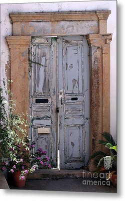 Ancient Garden Doors In Greece Metal Print by Sabrina L Ryan