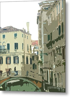 Ancient Italian Canal In Venice Metal Print by Mindy Newman