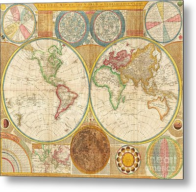 Ancient Map World In Hemispheres Metal Print by Pg Reproductions