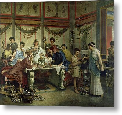 Ancient Roman Feast Metal Print by MotionAge Designs