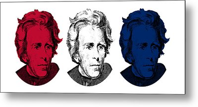 Andrew Jackson Red White And Blue Metal Print by War Is Hell Store