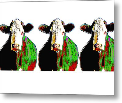 Animals Cows Three Pop Art Cows Warhol Style Metal Print by Ann Powell