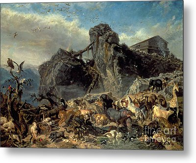 Animals Leaving The Ark, Mount Ararat  Metal Print by Filippo Palizzi