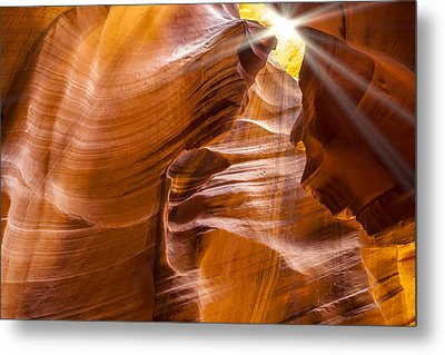 Antelope Canyon Sunrays Metal Print by Melanie Viola