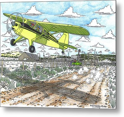 Antique Airplane Taking Flight Metal Print by Bill Friday