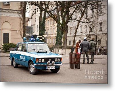 Antique Blue Militia Car View Metal Print by Arletta Cwalina