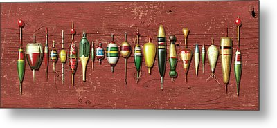 Antique Bobbers Red  Metal Print by JQ Licensing