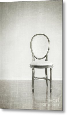 Antique Chair With Grunge Style Background Metal Print by Sandra Cunningham