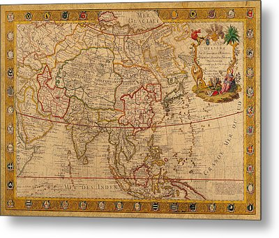 Antique Map Of Asia 1732 Vintage On Worn Canvas Metal Print by Design Turnpike