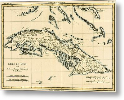 Antique Map Of Cuba Metal Print by Guillaume Raynal