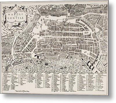 Antique Map Of Naples Metal Print by Italian School