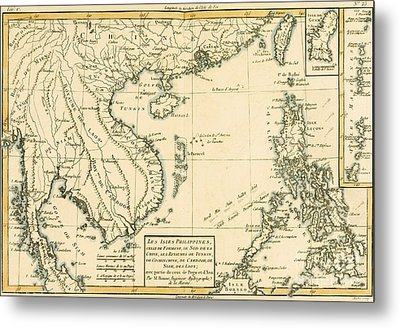 Antique Map Of South East Asia Metal Print by Guillaume Raynal
