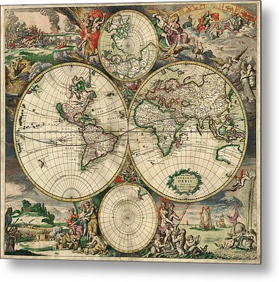 Antique Map Of The World - 1689 Metal Print by Marianna Mills