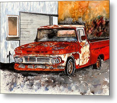 Antique Old Truck Painting Metal Print by Derek Mccrea