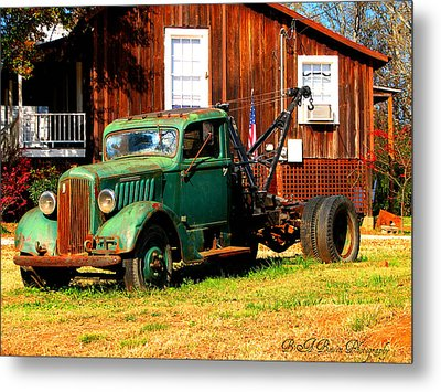 Antique Tow Truck Metal Print by Barbara Bowen