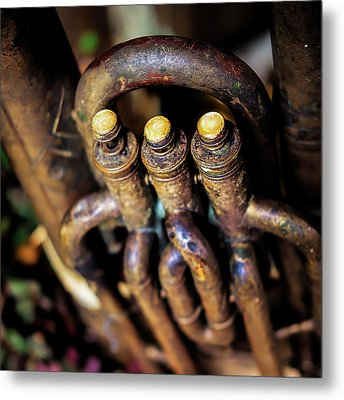 Antique Tuba Metal Print by Jon Woodhams