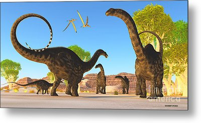 Apatosaurus Forest Metal Print by Corey Ford