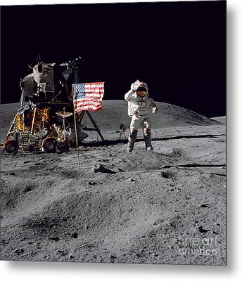 Apollo 16 Astronaut Leaps Metal Print by Stocktrek Images