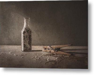 Apothecary Bottle And Clothes Pin Metal Print by Scott Norris