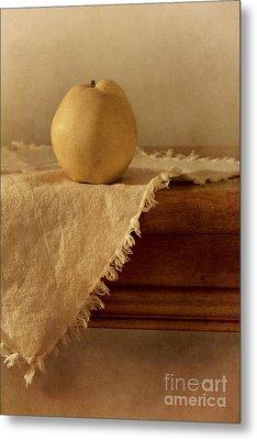 Apple Pear On A Table Metal Print by Priska Wettstein
