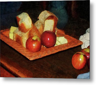 Apples And Bread Metal Print by Susan Savad
