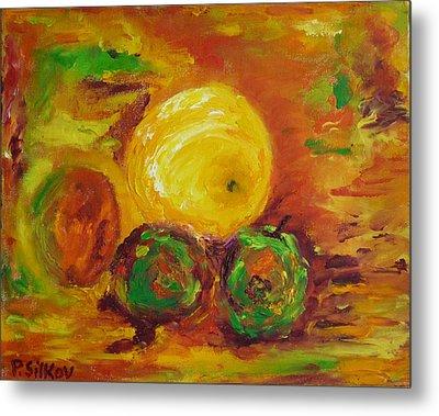 Apples And Grapefruit Metal Print by Peter Silkov