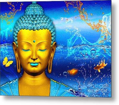 Aqua Buddha Metal Print by Khalil Houri