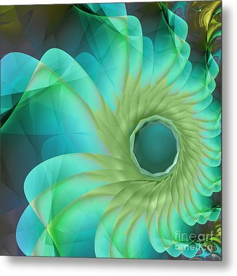Aqua In Bloom Metal Print by Mindy Sommers