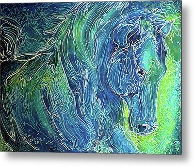 Aqua Mist Equine Abstract Metal Print by Marcia Baldwin