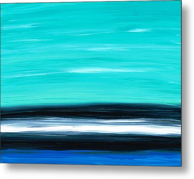 Aqua Sky - Bold Abstract Landscape Art Metal Print by Sharon Cummings