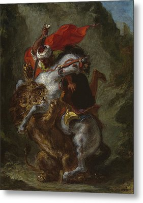 Arab Horseman Attacked By A Lion Metal Print by Ferdinand Victor Eugene Delacroix