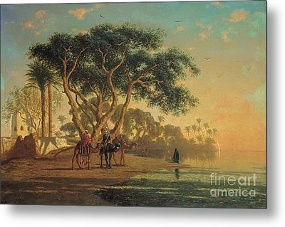 Arab Oasis Metal Print by Narcisse Berchere