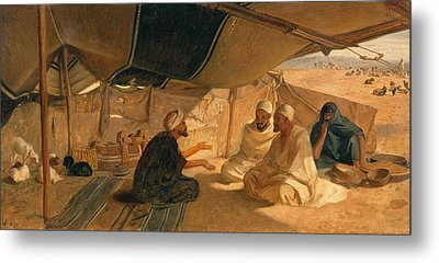 Arabs In The Desert Metal Print by Frederick Goodall