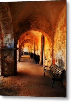 Arched Spanish Hall Metal Print by Perry Webster