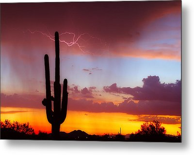Arizona Lightning Sunset Metal Print by James BO  Insogna
