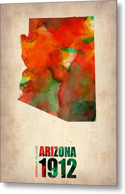 Arizona Watercolor Map Metal Print by Naxart Studio