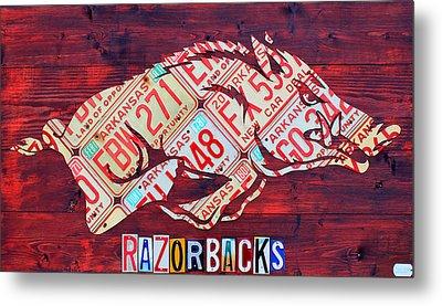Arkansas Razorbacks Recycled Vintage License Plate Art Sports Team Logo Metal Print by Design Turnpike
