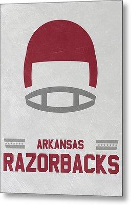 Arkansas Razorbacks Vintage Football Art Metal Print by Joe Hamilton