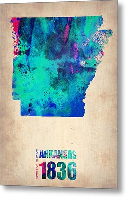 Arkansas Watercolor Map Metal Print by Naxart Studio