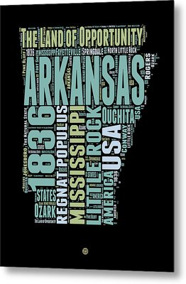 Arkansas Word Cloud 1 Metal Print by Naxart Studio